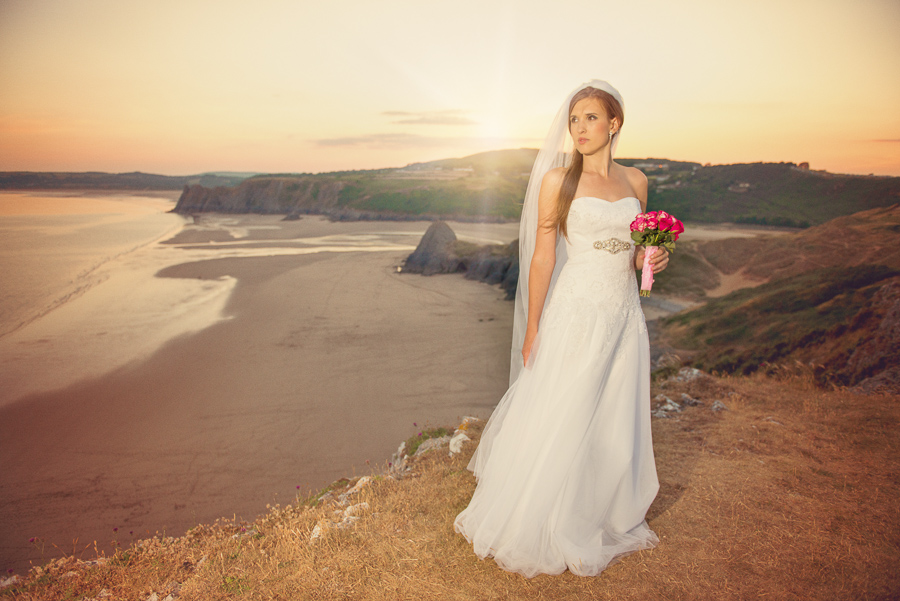 BRIDAL OUTDOOR SESSION - THREE CLIFFS BAY, GOWER, SWANSEA WEDDING PHOTOGRAPHER- Wedding photographers south wales, -15