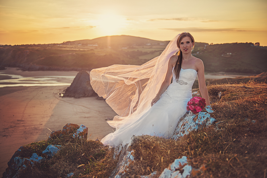 BRIDAL OUTDOOR SESSION - THREE CLIFFS BAY, GOWER, SWANSEA WEDDING PHOTOGRAPHER- Wedding photographers south wales, -9